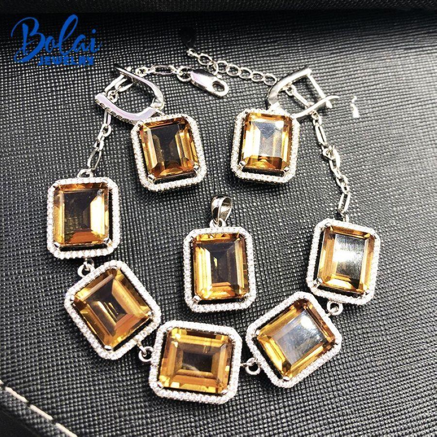 Bolai Big Nano Diaspore Color Change Jewelry Sets In 925