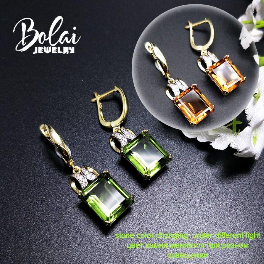 Bolai Color Change Nano Diaspore Dangle Earrings 925 Sterling Silver