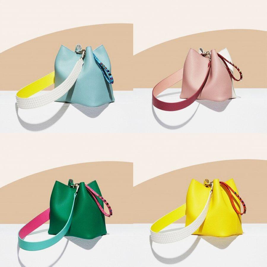 New Fashion Stitching Bucket Bag Rivet Summer Candy Handbags Set