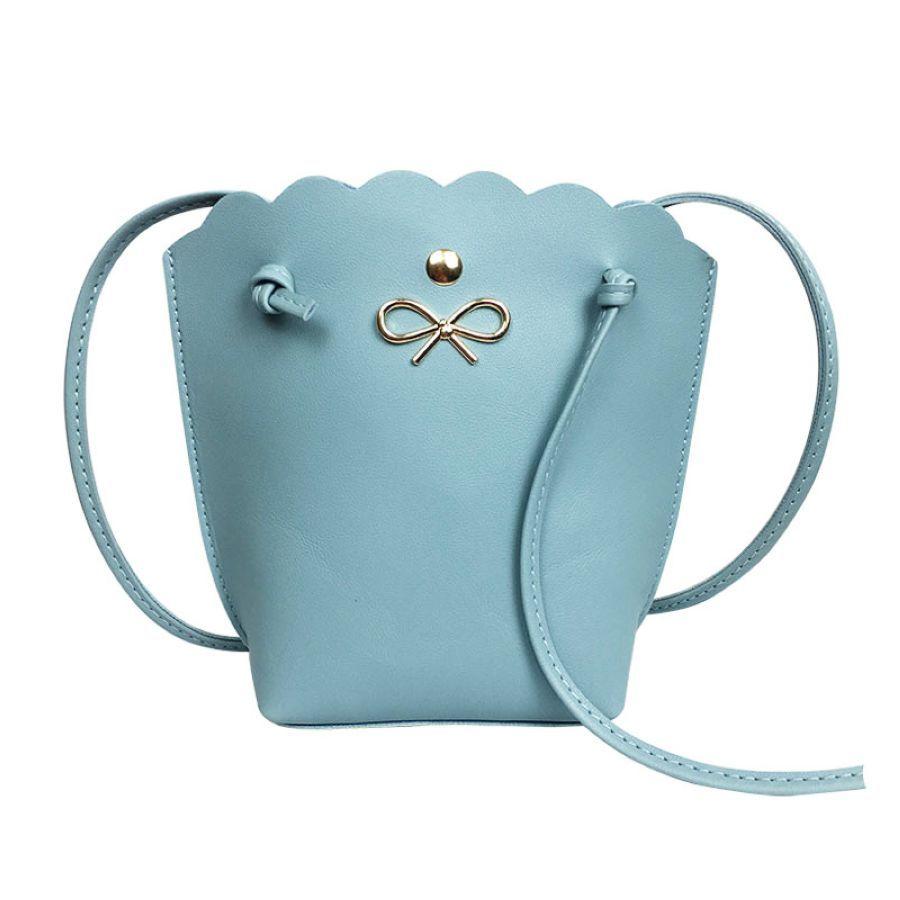 Pu Bucket Type Bow Decoration Lace Ladies Hot Fashion One