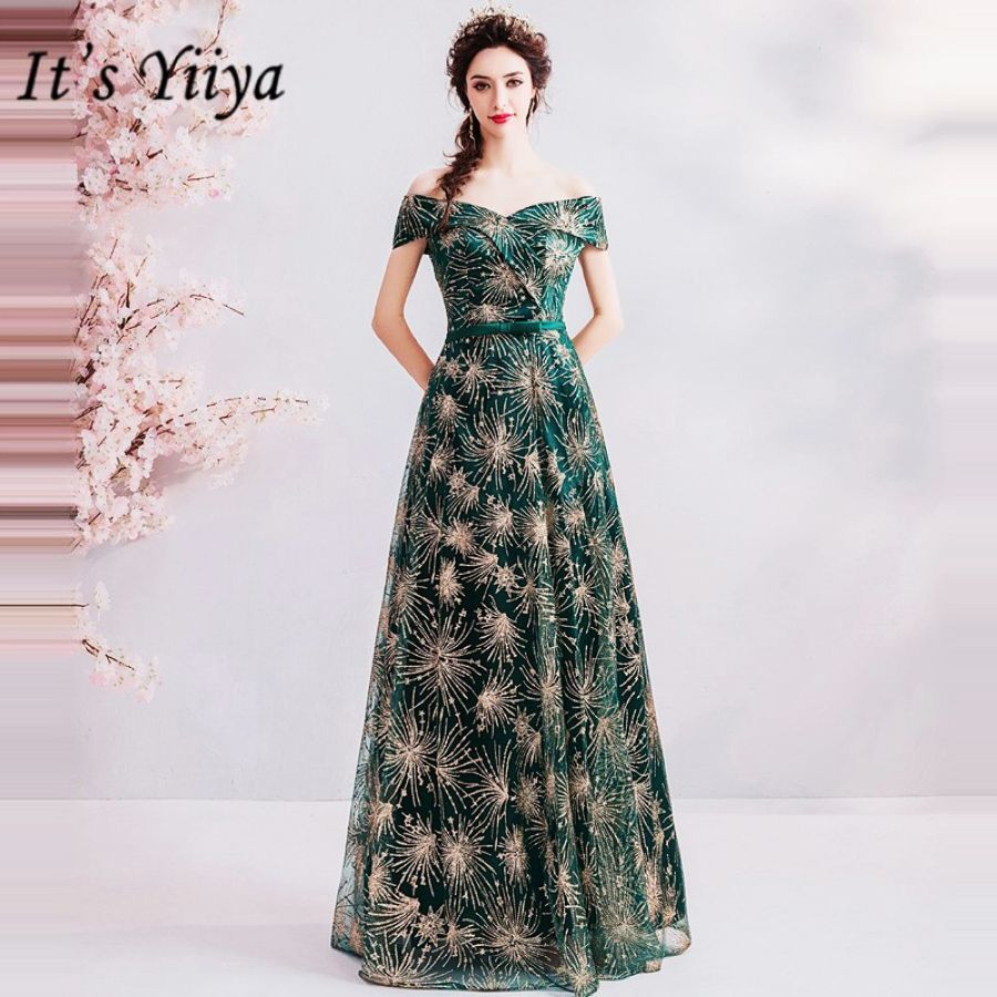 Its Yiiya Prom Gowns Green Strapless Short Sleeves A-Line Floor