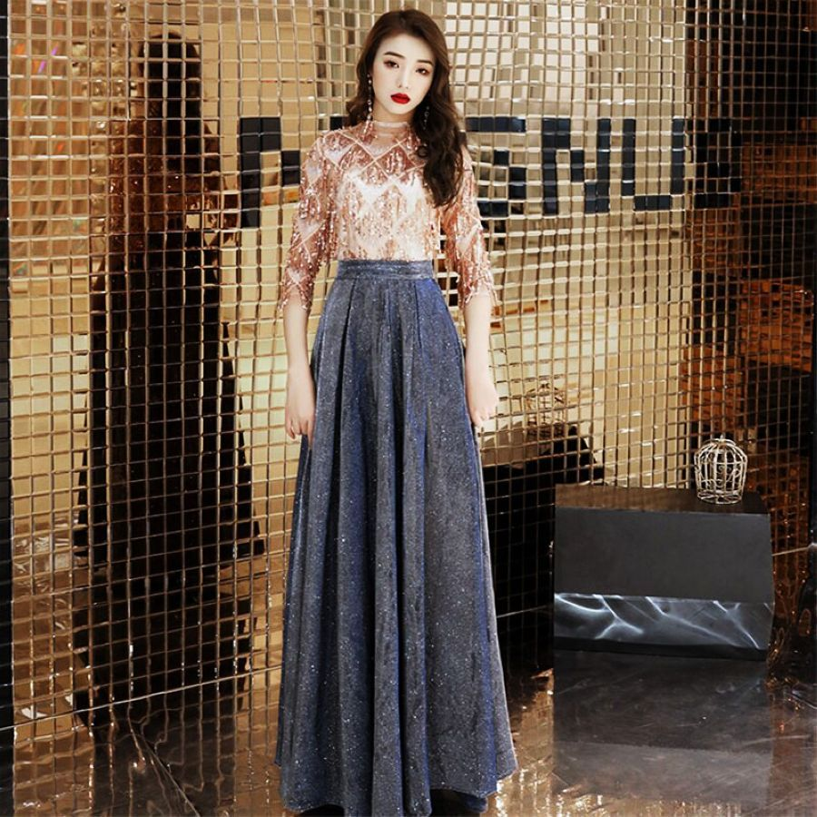 Its Yiiya Women Party Dress Sequines Tulle O-Neck Long Evening