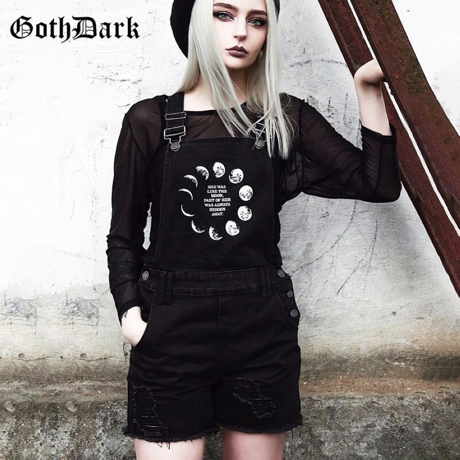 Goth gótico oscuro grunge negro mujer pantalones cortos