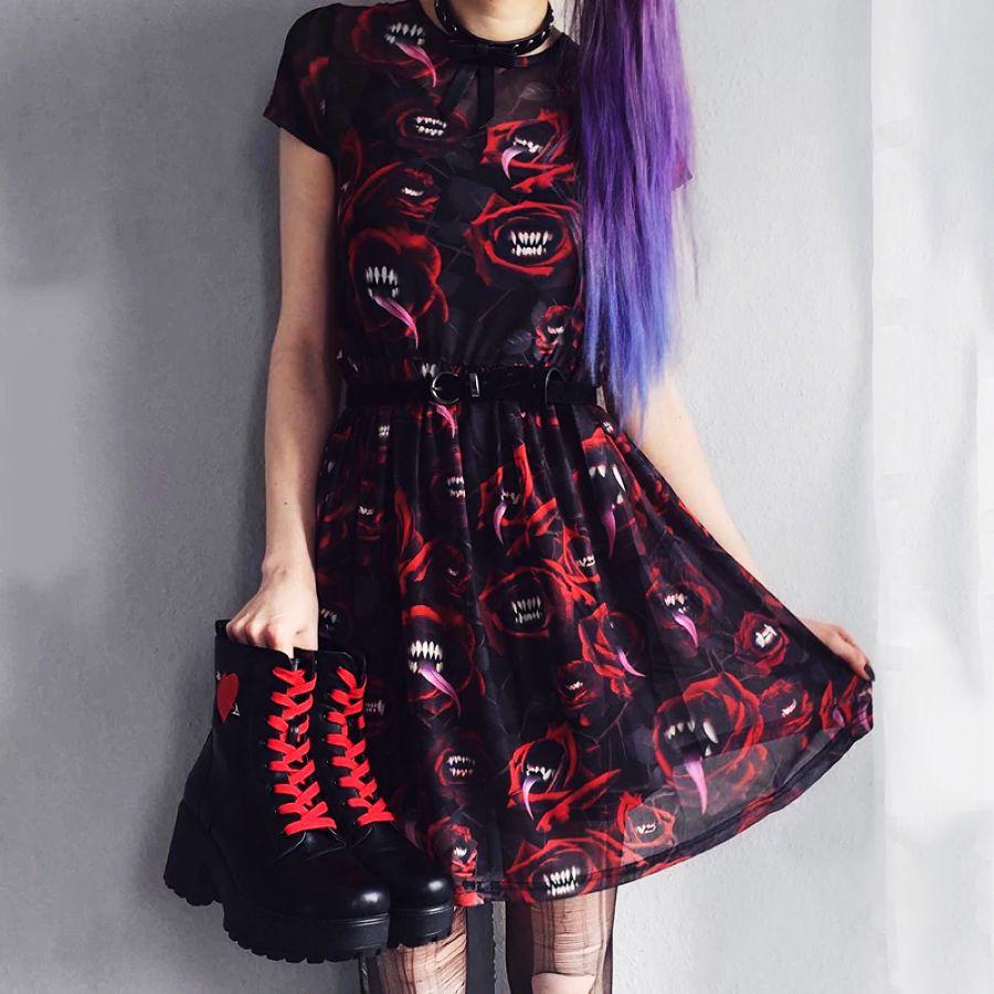 Women Mesh Sexy Dress Gothic Punk Black Red Mini Short