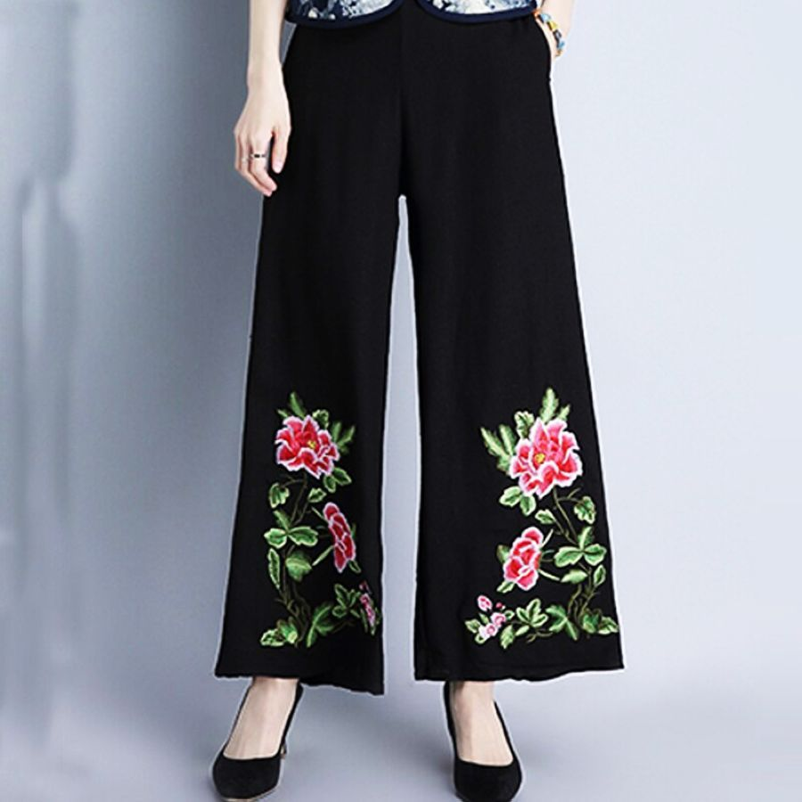 2019 Summer Vintage Style Floral Embroidery Wide Leg Pants High