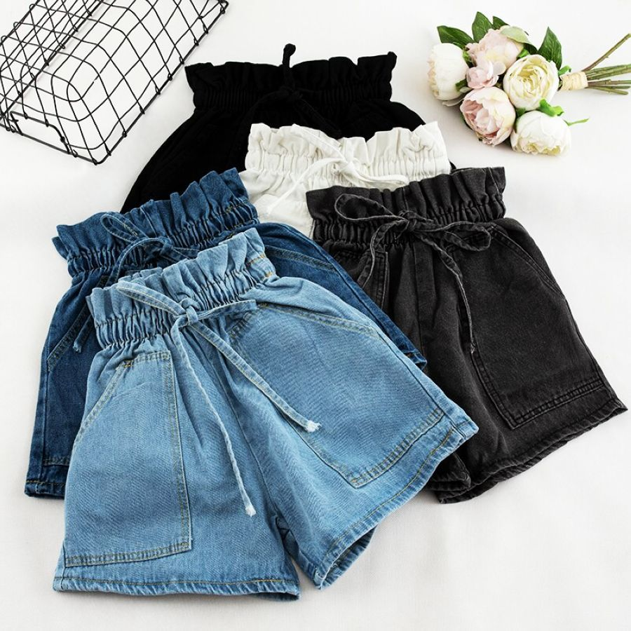 Nuevos pantalones cortos de cintura alta elásticos de m