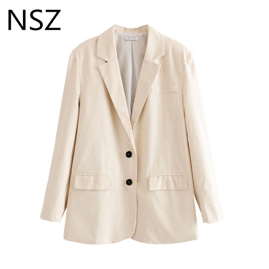 Nsz Women Cotton Linen Blazer Single Breasted Office Work Business