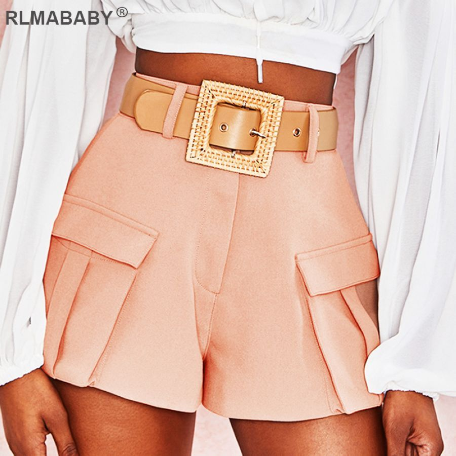 Rlmababy 2019 bolsillos a media cintura pantalones cort