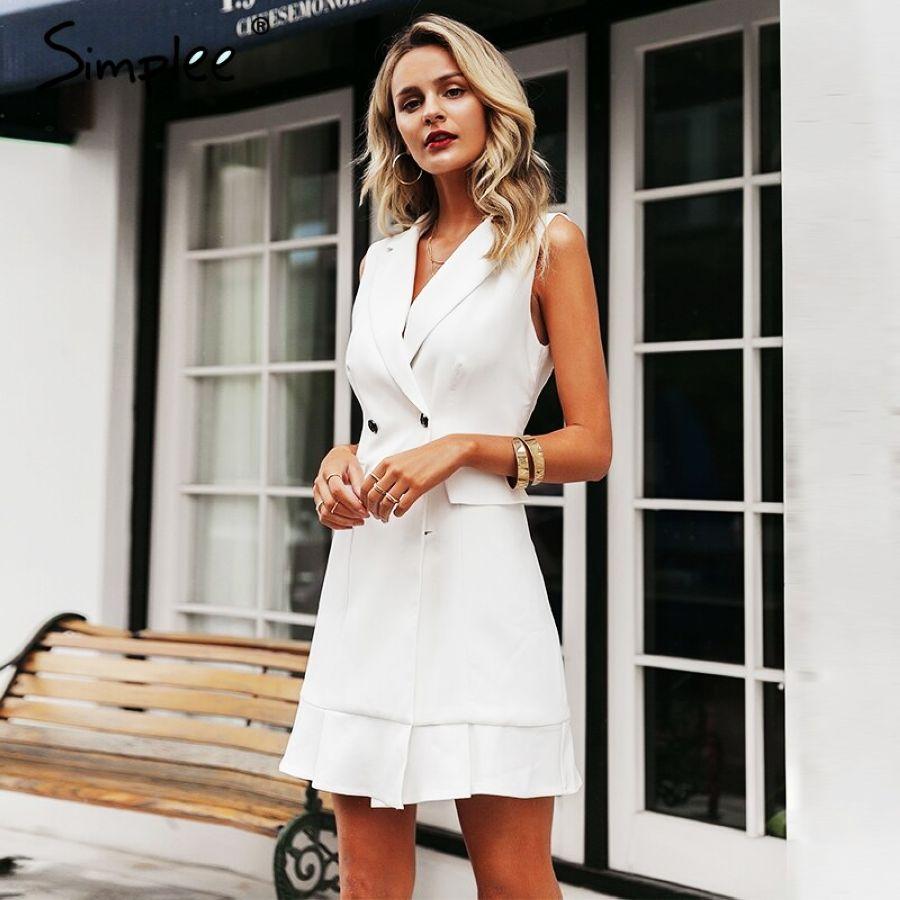 White Blazer Work Dress Women V Neck Ruffle A Line