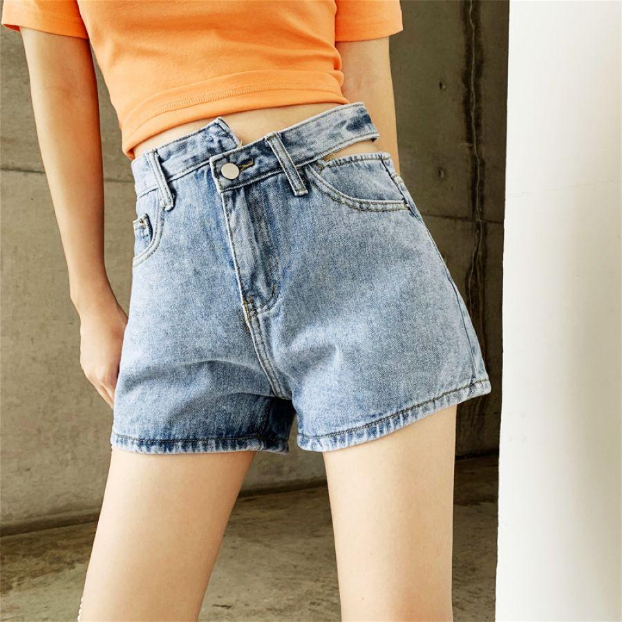 De cintura alta hueco sexy pantalones cortos de las muj