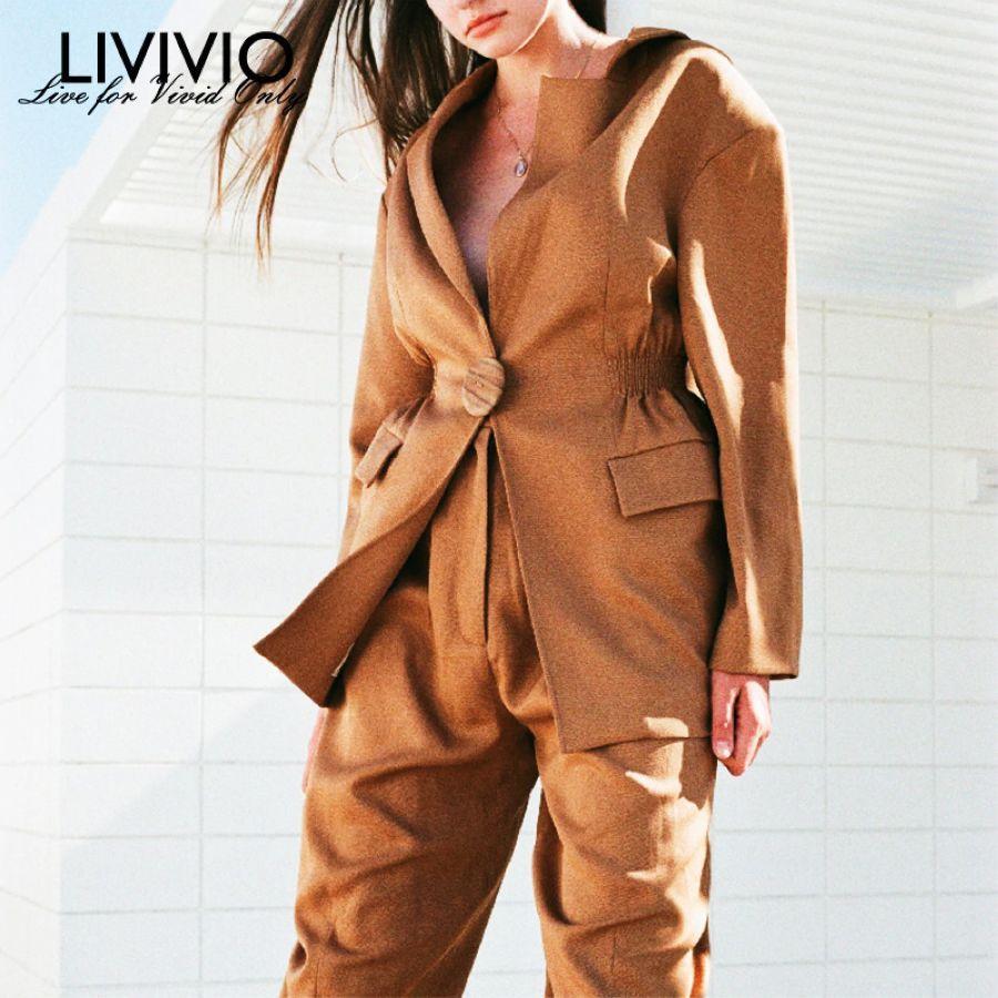Liviviostreetwear Blazer Coats For Women Jackets Long Sleeve Elastic Waisted
