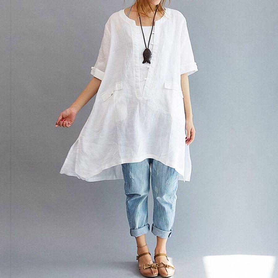 2019 New Arrival Women Solid Long Blouse Cotton Linen Short