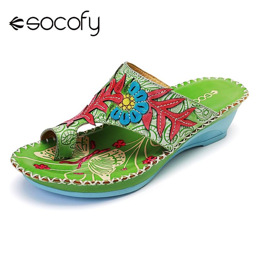 Shoes Socofy Bohemia Sandals Pattern Handmade Stitching Genuine Leather Clip