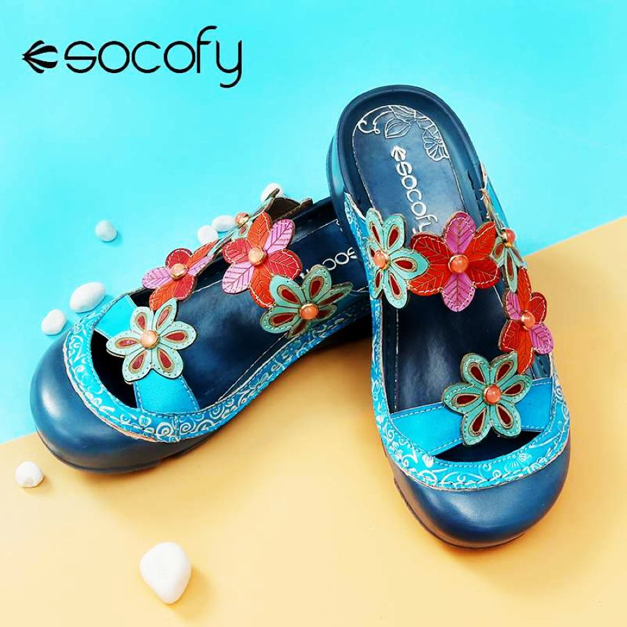 Shoes Socofy 2019 Women Summer Handmade Slippers Floral Shoes Platform
