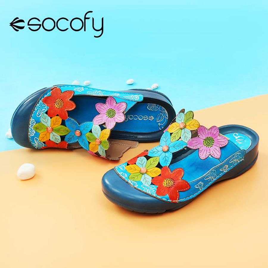 Shoes Socofy 2019 Women Retro Genuine Leather Sandals Splicing Flowers