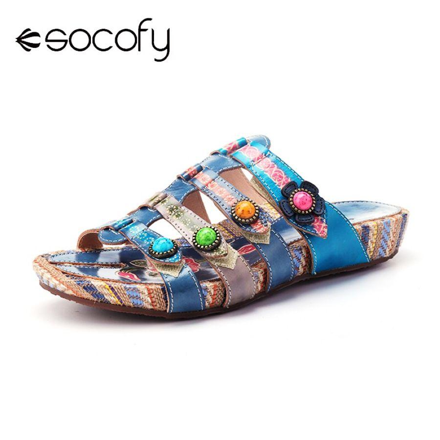 Shoes Socofy 2019 Handmade Summer Women Vintage Leather Sandals Peep
