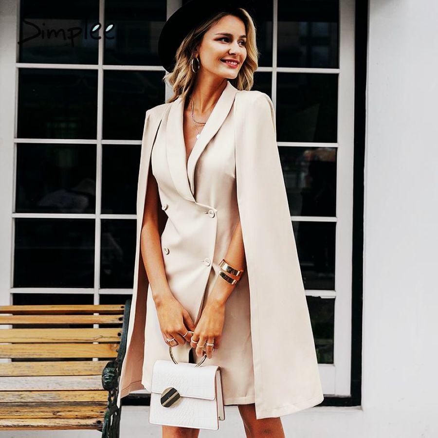 Vintage Cloak Blazer Women Dress Office Ladies V Neck Shawl
