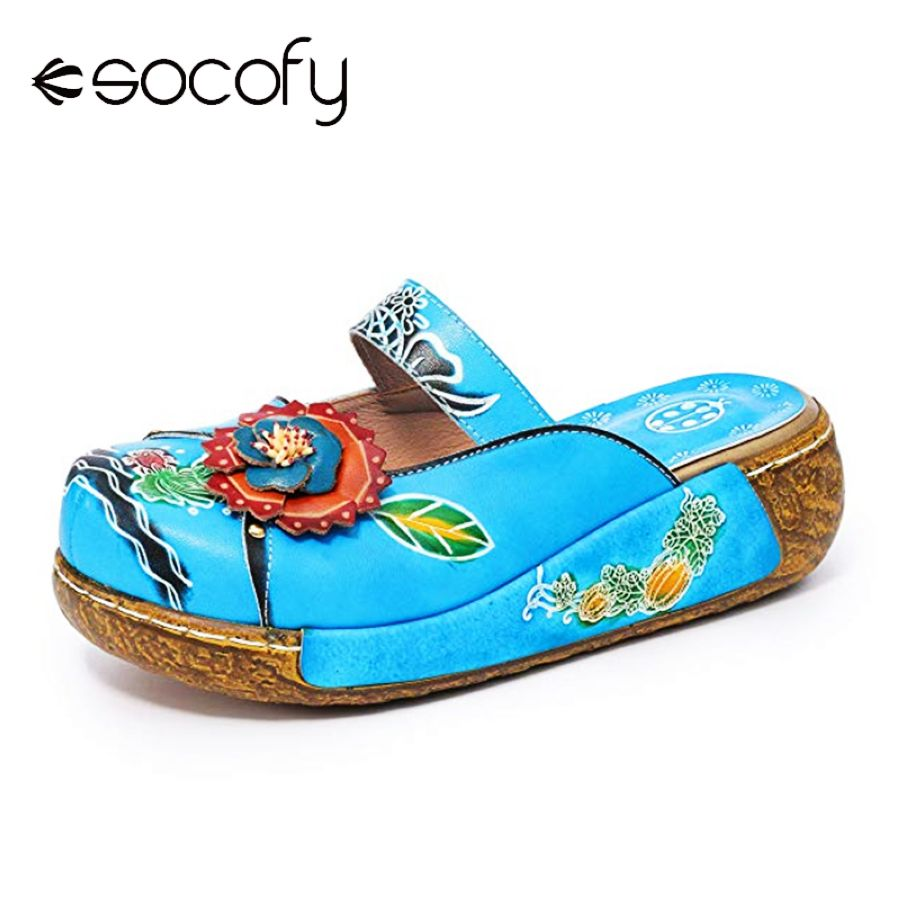 Shoes Socofy 2019 Women Leather Sandals Hand-Painted Vintage Casual Round