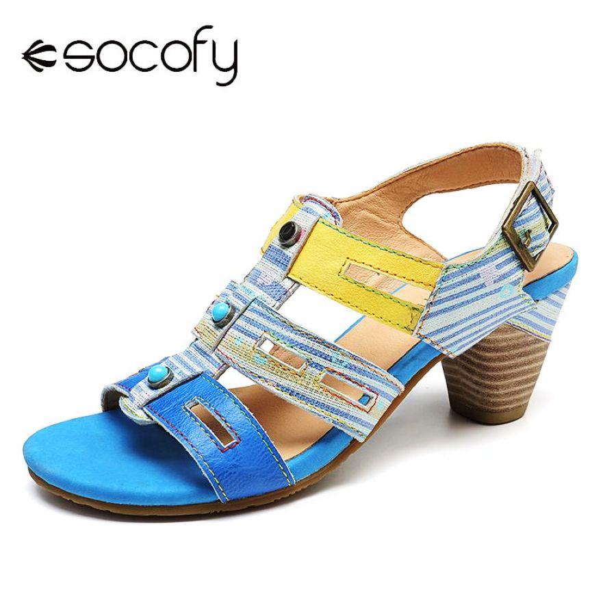 Socofy sandalias cómodas rayas hueco cuero genuino empa