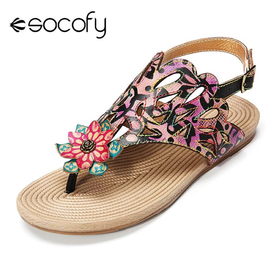 Shoes Socofy Bohemia Genuine Leather Retro Floral Hollow Pattern Clip