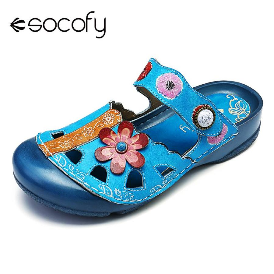 Shoes Socofy Retro Sandals Flowers Pattern Genuine Leather Hollow Big