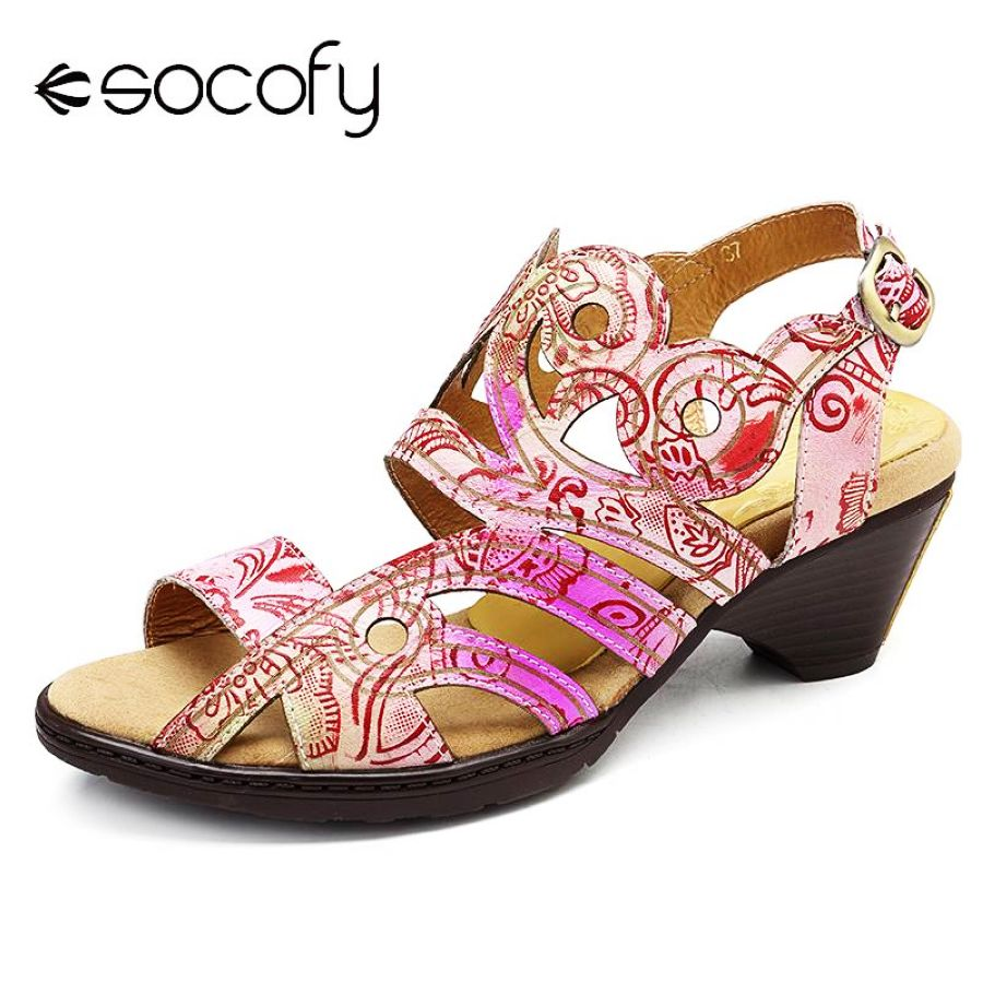 Shoes Socofy Vintage Sandals Gradient Color Genuine Leather Splicing Pattern