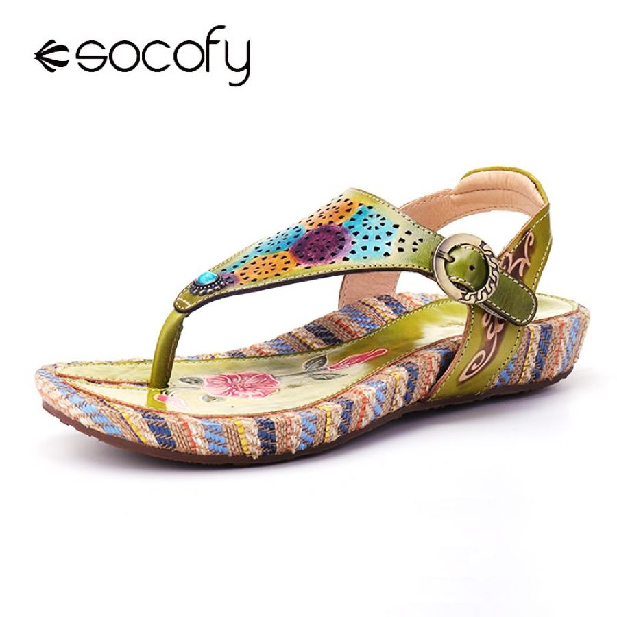 Shoes Socofy 2019 Vintage Summer Women Flat Shoes Printed Leather