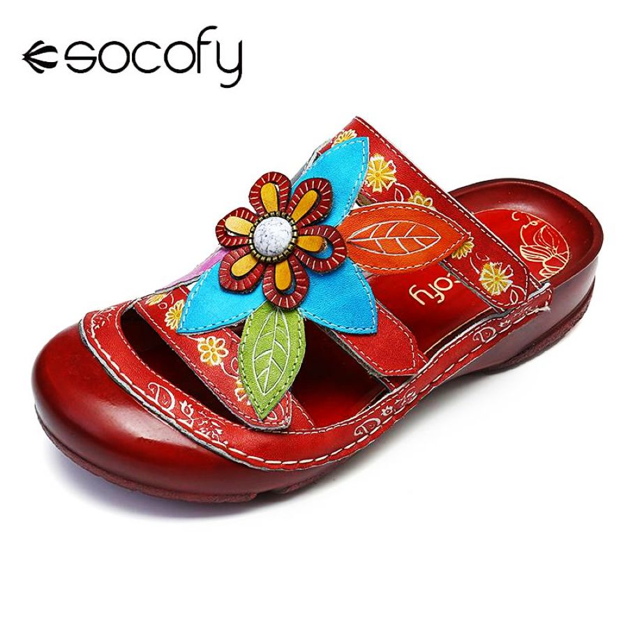 Shoes Socofy Retro Sandals Flowers Pattern Genuine Leather Stitching Adjustable