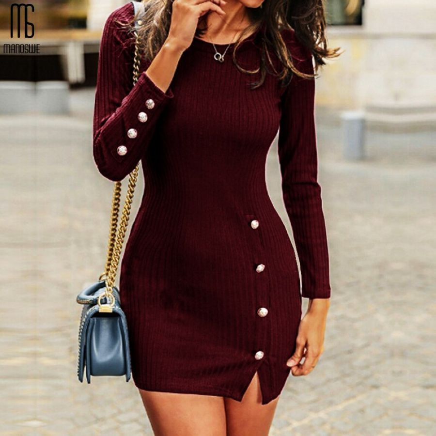 Dresses Manoswe Knitted Long Sleeve Sweater Dress Women Plus Size