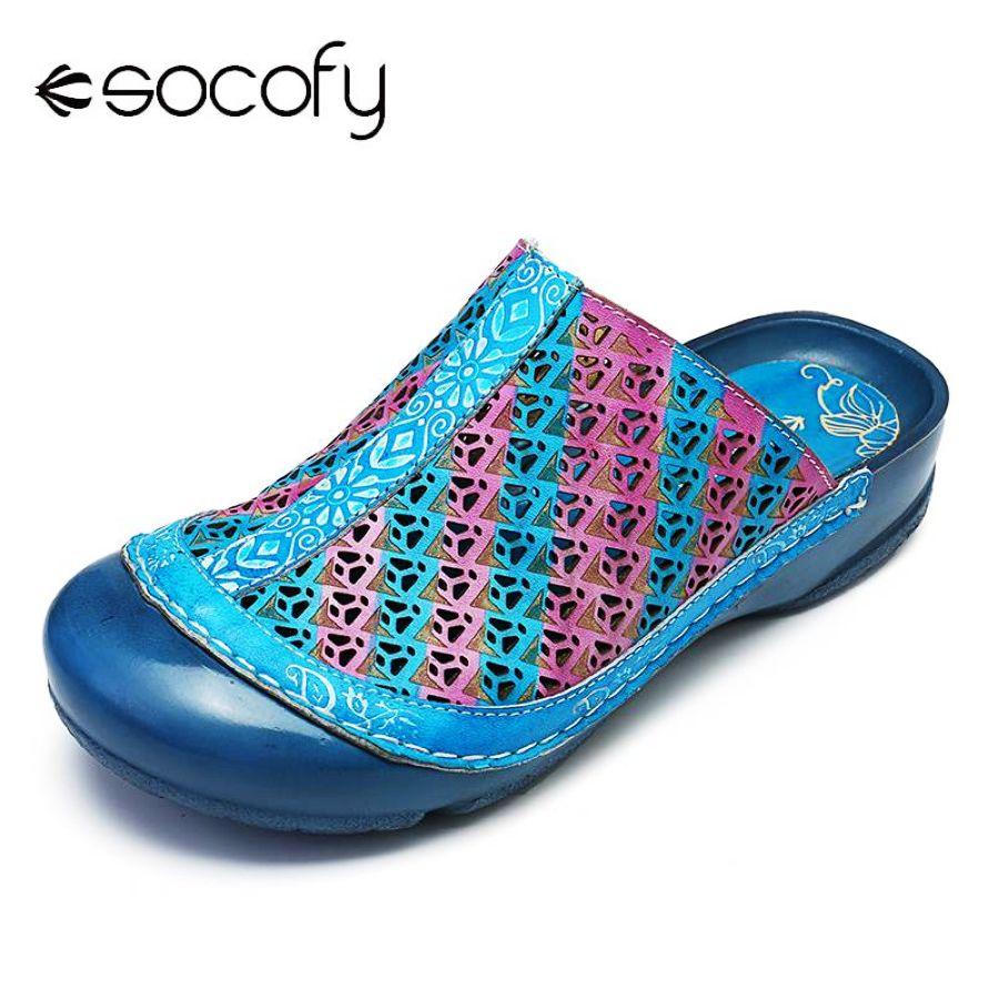 Socofy sandalias vintage zapatos de cuero genuino mujer