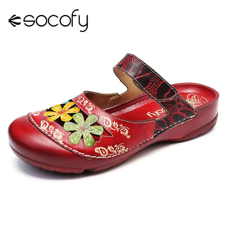 Shoes Socofy Vintage Sandals Flowers Pattern Splicing Genuine Leather Stitching