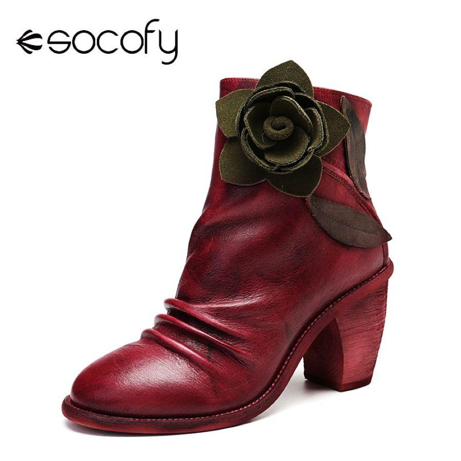 Socofy botas hechas a mano vintage floral costura crema