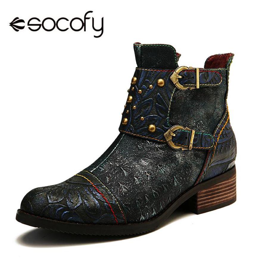 Socofy zapatos de mujer en relieve botas de empalme con