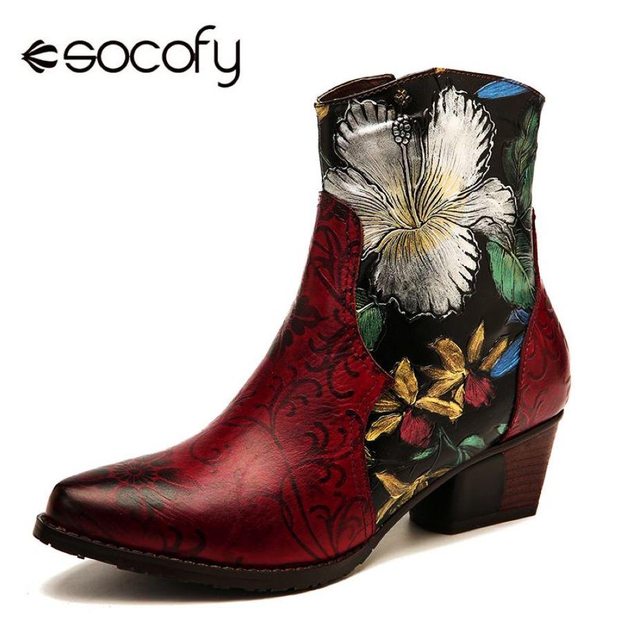 Socofy botas retro en relieve pintura al óleo flores co