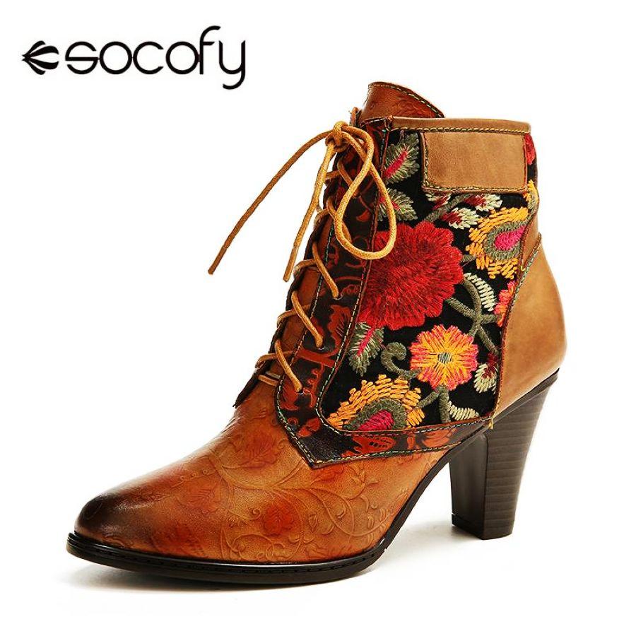 Socofy botas genuinas retro de cuero para mujer bordado