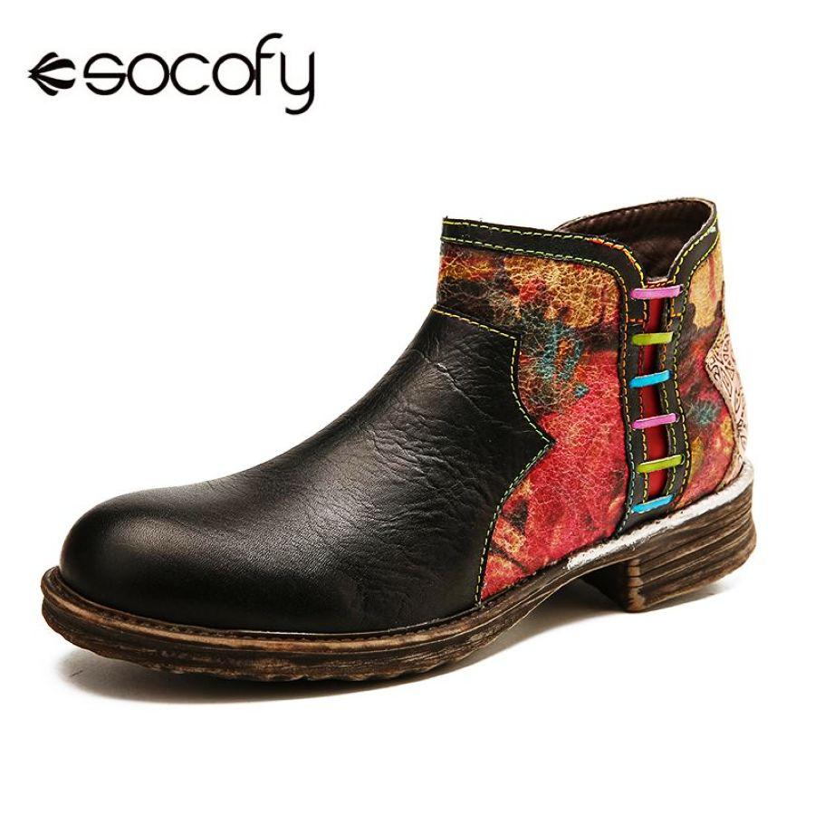 Socofy botas retro acuarela textura empalme cuero genui