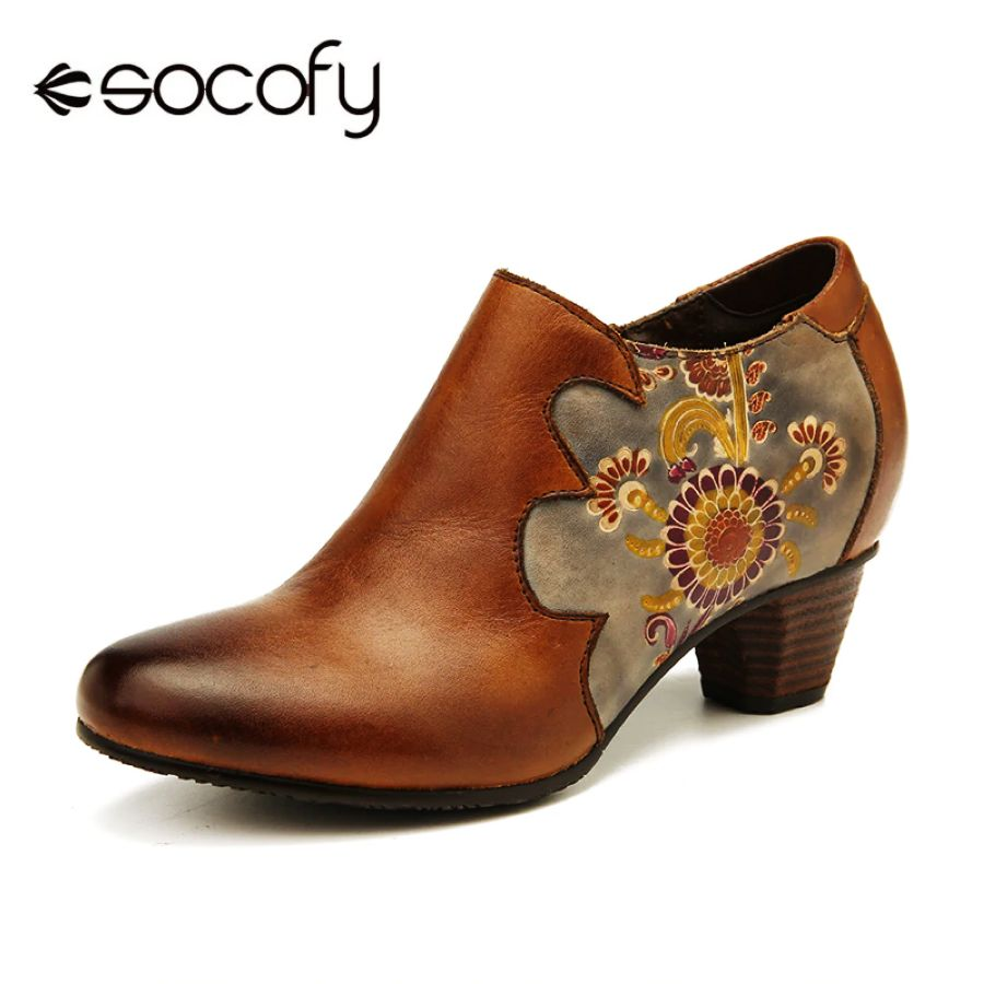Shoes Socofy Retro Pumps Hand Painted Flowers Pattern Stitching Genuine
