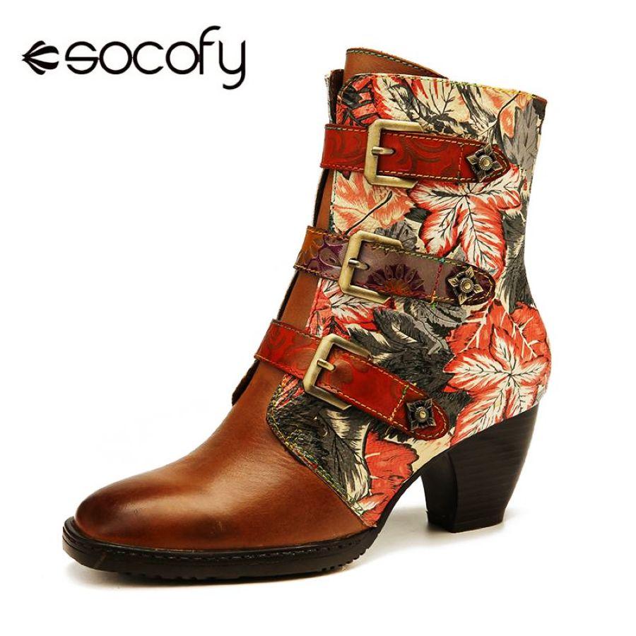 Botas elegantes socofy cuero genuino hojas coloridas re