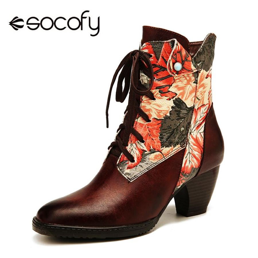 SOCOFY Retro Genuine Boots Leather Print Flowers Patter