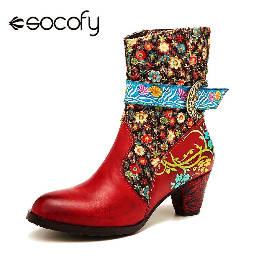 Socofy retro flor botas patrón costura cuero genuino me